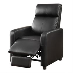 Coaster Leather Push Back Home Theatre Recliner in Black