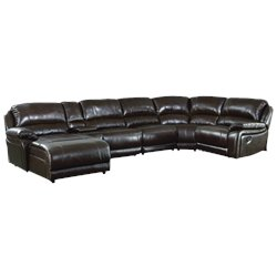 Coaster 6 Piece Leather Sectional in Chestnut