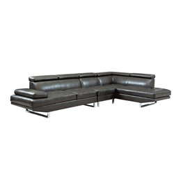 Coaster Leather Adjustable Headrest Corner Sectional in Charcoal
