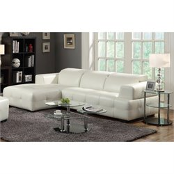 Coaster Adjustable Headrest Corner Sectional in White