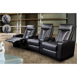 Coaster 3 Piece Home Theatre Recliner with Cupholders in Black