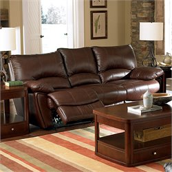 Coaster Leather Reclining Sofa in Brown