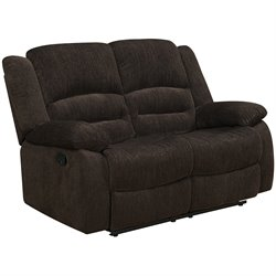 Coaster Fabric Reclining Loveseat in Brown