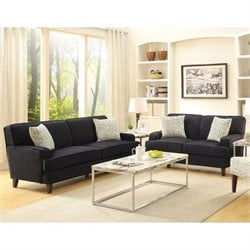 Coaster Finley 2 Piece Fabric Sofa Set in Black