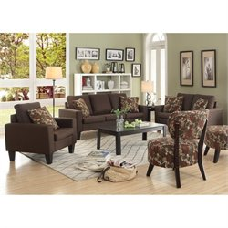 Coaster Bachman 3 Piece Fabric Sofa Set in Chocolate