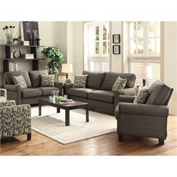 Coaster Noella 3 Piece Fabric Sofa Set in Grey