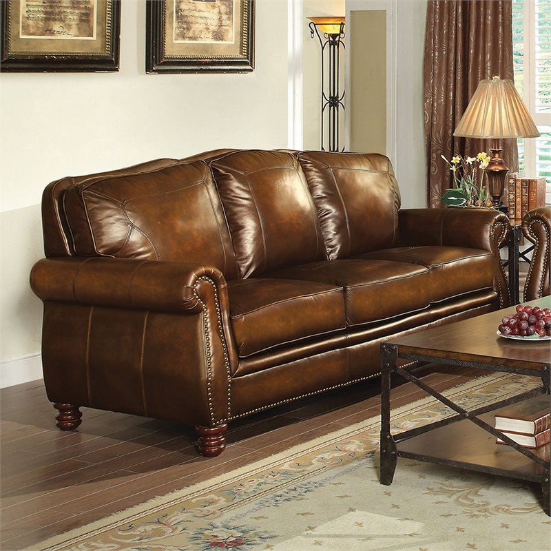 Coaster Montbrook Leather Sofa In Brown 503981