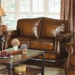 Coaster Montbrook Leather Loveseat in Brown