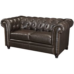 Coaster Faux Leather Button Tufted Loveseat in Dark Brown