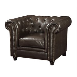 Coaster Leather Button Tufted Accent Chair in Dark Brown