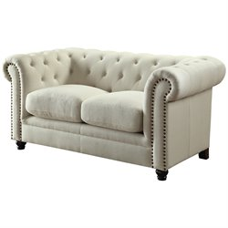 Coaster Fabric Button Tufted Loveseat in Cream
