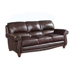 Coaster Lockhart Leather Sofa in Burgundy Brown