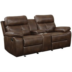 Coaster Damiano Faux Leather Motion Glider Reclining Loveseat in Brown