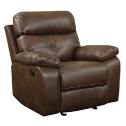 Coaster Damiano Faux Leather Motion Glider Recliner in Brown