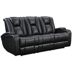 Coaster Delange Faux Leather Power Reclining Sofa in Black