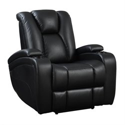 Coaster Delange Faux Leather Power Recliner in Black