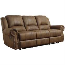 Coaster Rawlinson Microfiber Motion Reclining Sofa in Brown