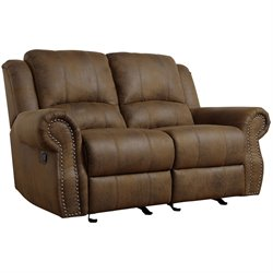 Coaster Rawlinson Microfiber Motion Reclining Loveseat in Brown