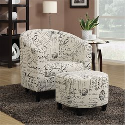 Coaster Accent Chair with Ottoman in Vintage French