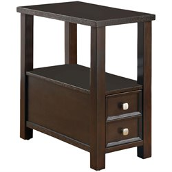 Coaster 1 Drawer 1 Shelf Chairside Table in Cappuccino