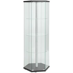Coaster Hexagon Glass Curio Cabinet in Black