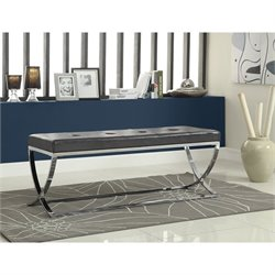 Coaster Leather and Metal Bench in Silver