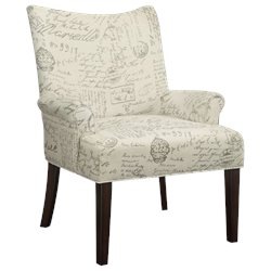 Coaster French Script Pattern Accent Chair in Cappuccino