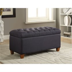 Coaster Tufted Storage Bench in Dark Navy
