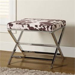 Coaster Ottoman in White and Brown