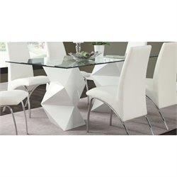 Coaster Ophelia Contemporary Glass Top Dining Table in White