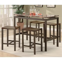 Coaster Atlus 5 Piece Counter Bar Table and Stool Set in Brown