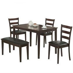 Coaster Taraval 5 Piece Dining Set with Bench in Dark Brown