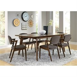 Coaster Malone 7 Piece Mid Century Dining Set in Walnut