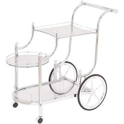 Coaster Traditional Kitchen Cart in Chrome