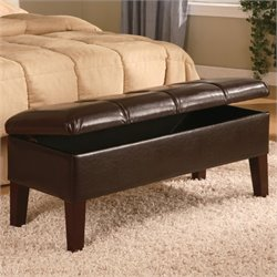 Coaster Lewis Faux Leather Bedroom Bench in Brown
