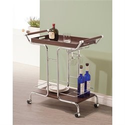 Coaster Contemporary Kitchen Cart in Chrome