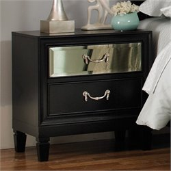 Coaster Devine 2 Drawer Nightstand in Black