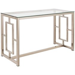Coaster Contemporary Glass Top Sofa Table in Satin Nickel