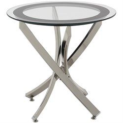 Coaster Metal and Glass End Table in Chrome