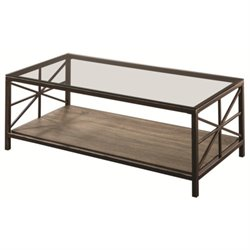 Coaster Coffee Table with Wood Shelf in Black Brush Gold