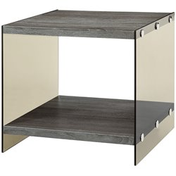 Coaster Wood and Glass End Table in Grey