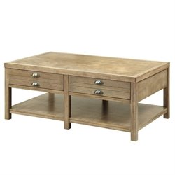 Coaster Coffee Table with Two Drawers in Light Oak