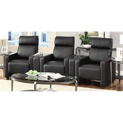 Coaster Push Back Home Theatre Recliner with Cupholders in Black
