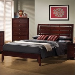 Serenity Bed with Headboard in Rich Merlot