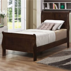 Louis Philippe Panel Sleigh Bed in Cappuccino