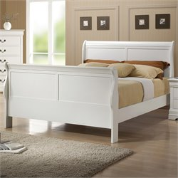 Louis Philippe Sleigh Bed in White