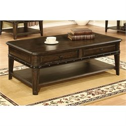 Coaster 2 Drawer 1 Shelf Coffee Table in Dull Black