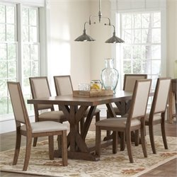 Coaster Bridgeport 7 Piece Dining Set in Weathered Acacia