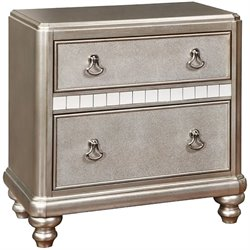 Coaster Bling Game 2 Drawer Nightstand in Metallic Platinum