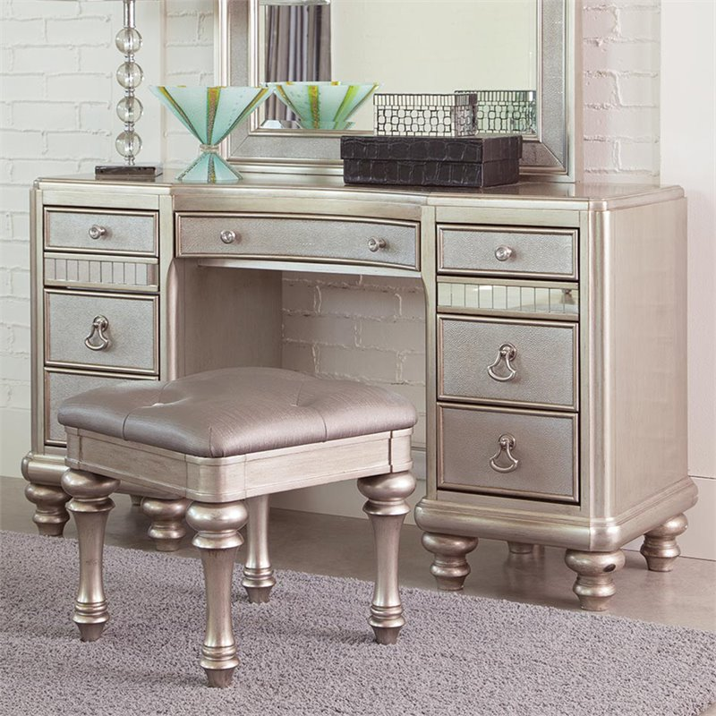coaster bling game 7 drawer bedroom vanity in metallic